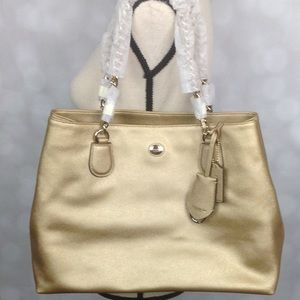 Coach Peyton Leather Chain Tote in Gold